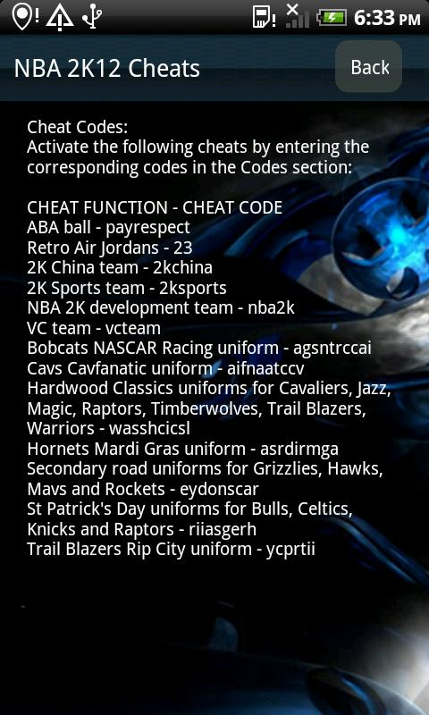 NBA 2K12 Cheats|玩體育競技App免費|玩APPs